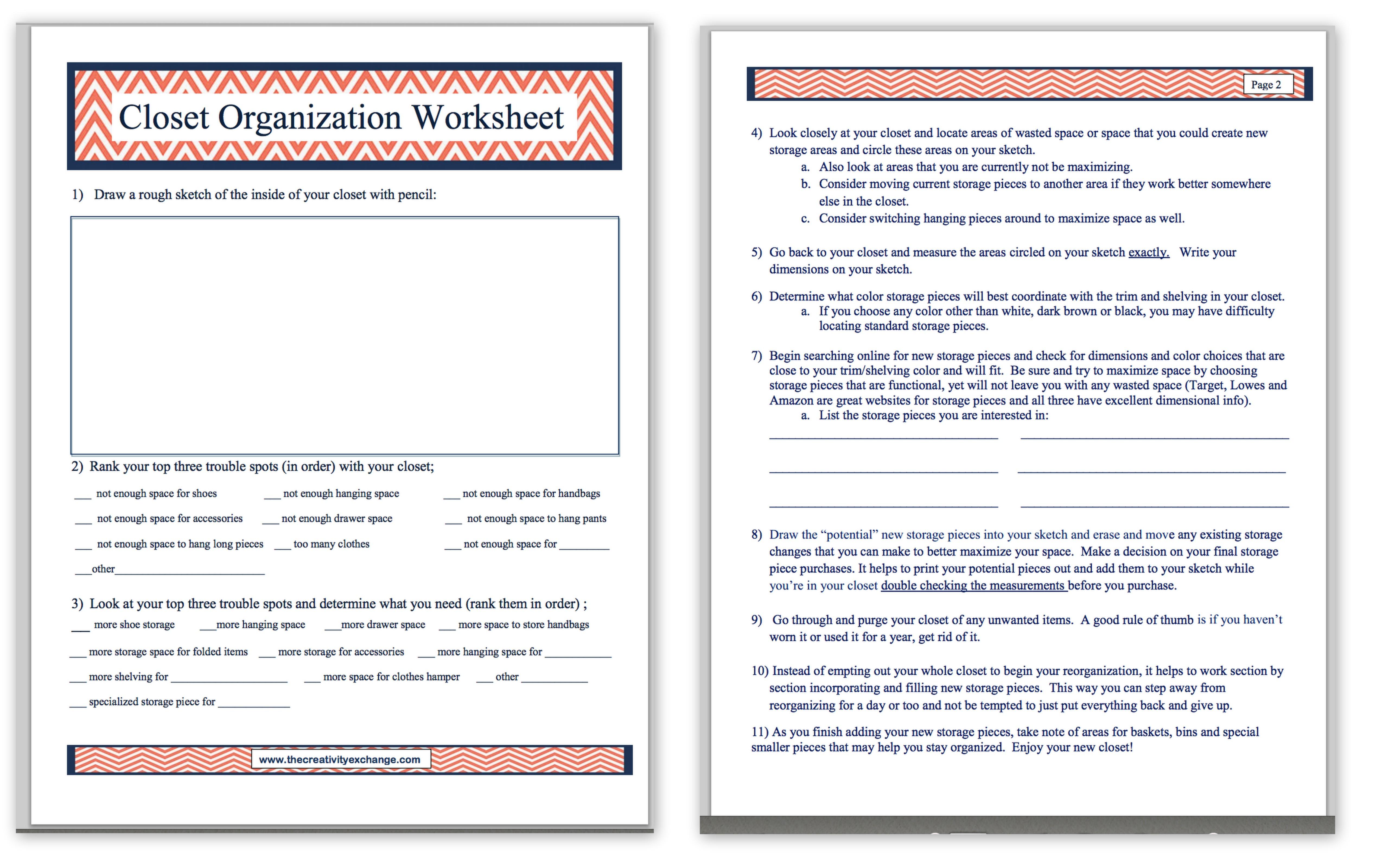 Free Printable Closet Organization Worksheet