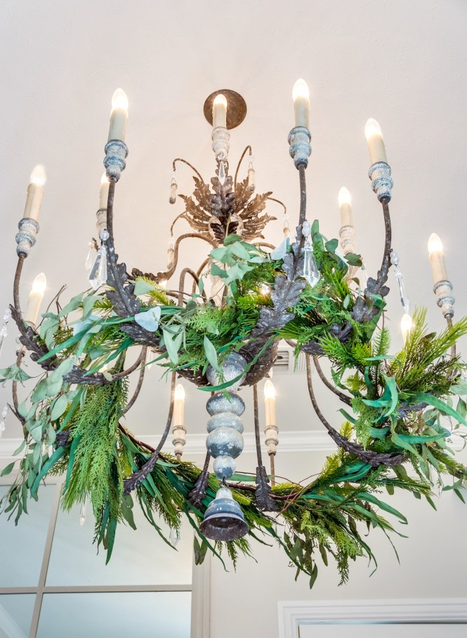 Christmas Garland In Chandelier