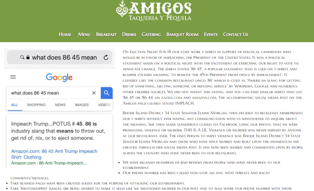 Amigos Taqueria Y Tequila web site was replaced with a discussion of their communications crisis.