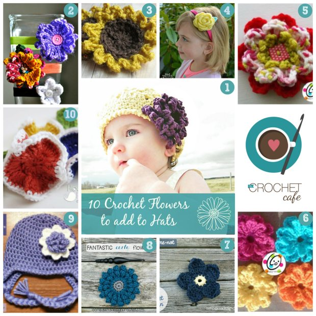 Crochet flowers numbered