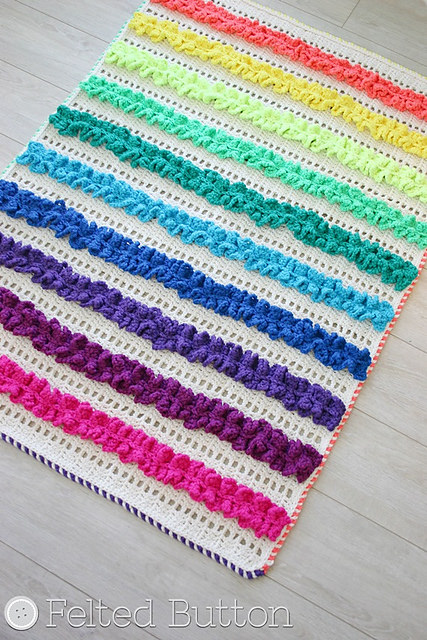 Ruffled Ribbons Blanket by Felted Button