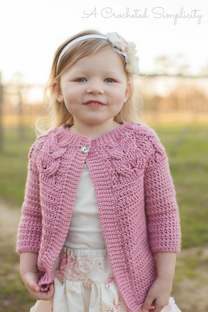 Southern Charm Girls Cabled Cardigan by A Crocheted Simplicity