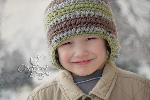 Ethan Beanie with Ear Flaps by Crystalized Designs