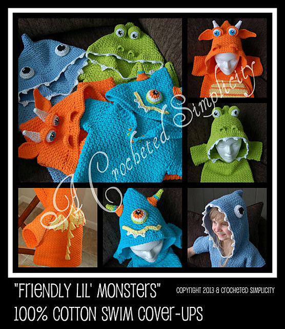 Friendly Lil' Monsters Swim Cover-Ups & Bath Too by A Crocheted Simplicity
