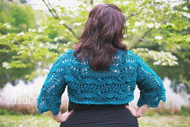[Plus Size] Hairpin Lace Shrug by Fay Moline