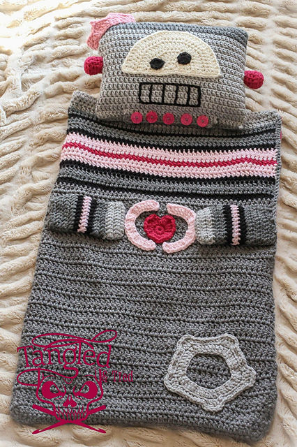 Robot Sleeping bag Blanket Pillow by Briana K Crochet