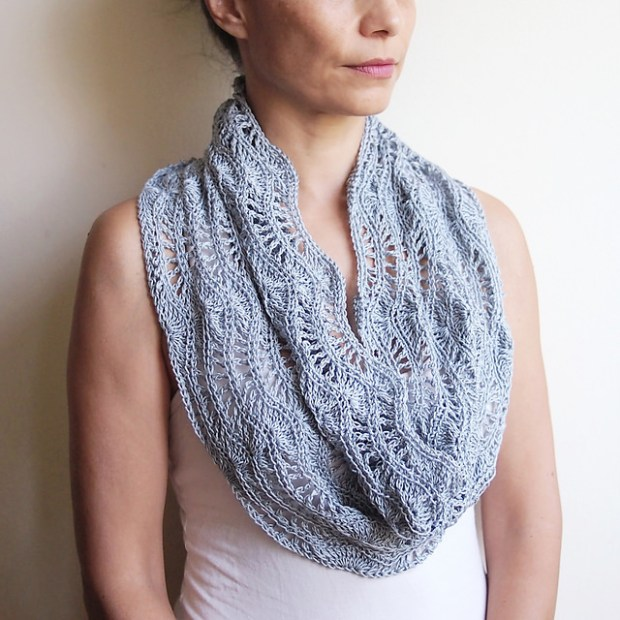 Silver waves loop scarf shrug cowl cape by Accessorise
