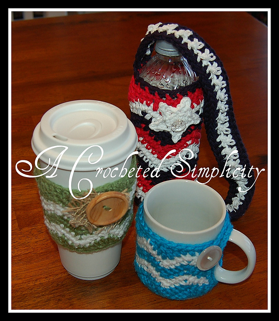Chasing Chevrons Coffee & Water Bottle Cozies by Jennifer Pionk