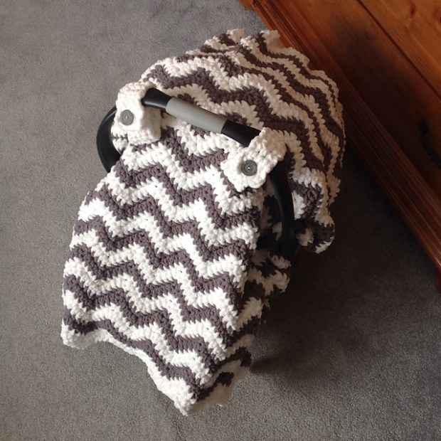Chunky Chevron Car Seat Canopy Cover by Crochet by Jennifer -Jennifer Dougherty
