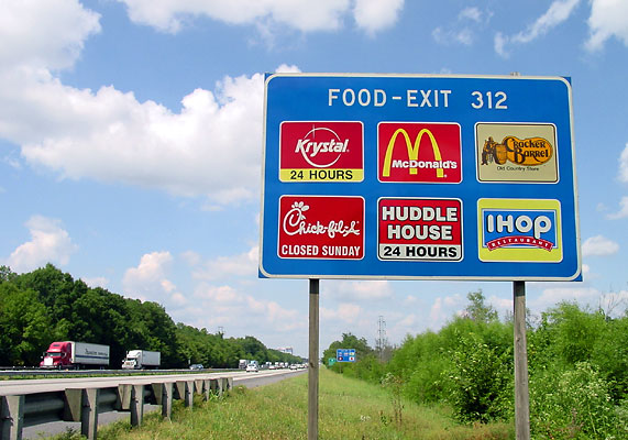 Exit 312, Food Sign, I-75 North in Georgia.