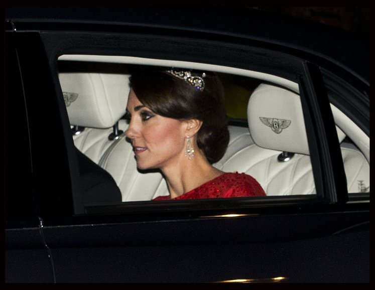The Duchess of Cambridge arriving for a State Banquet for the President of China at Buckingham Palace. Picture by Stephen Lock / i-Images
