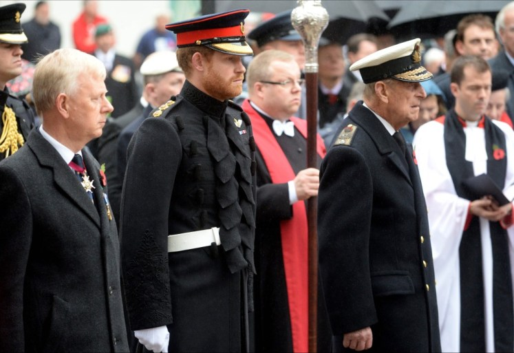 Harry and Philip at Westminster Abbey's Field of Remembrance today. I-images