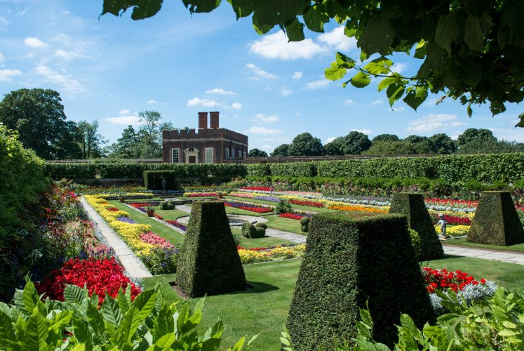 The sunken gardens, an addition during Mary II's tenure as Queen. She brought Dutch plants back to England with her.