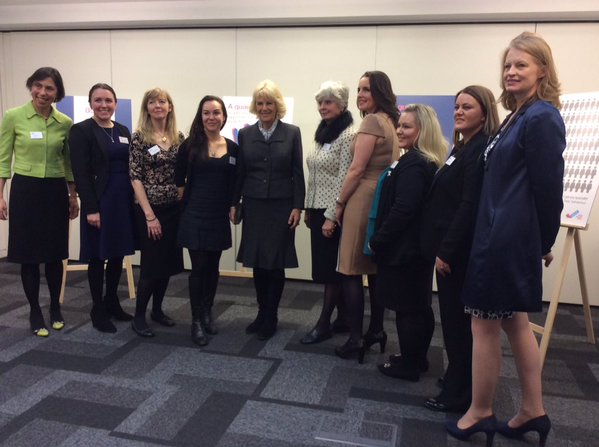 Camilla visited SafeLives in London and spoke with survivors of domestic abuse and their families. Rebecca English/Daily Mail