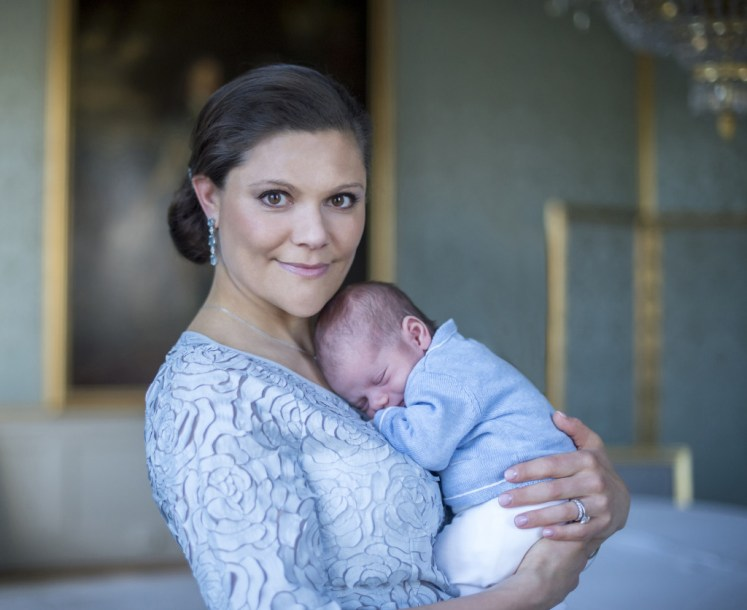 Crown Princess Victoria holds newborn Prince Oscar close in a new photo. Kate Gabor/Swedish Court