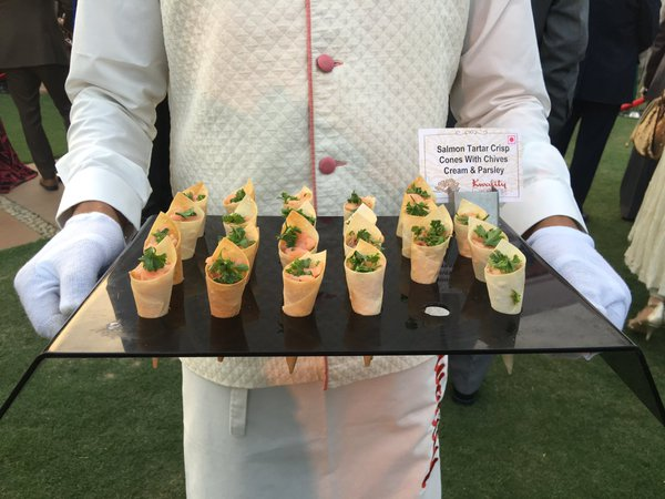 Some of the canapes at The Queen's birthday party. Rebecca English/Daily Mail
