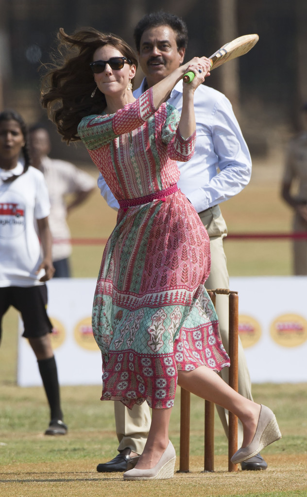 Kate, Duchess of Cambridge plays a game of cricket with children at the Oval Maidan cricket ground in Mumbai on day one of their tour of India. Picture by Stephen Lock / i-Images