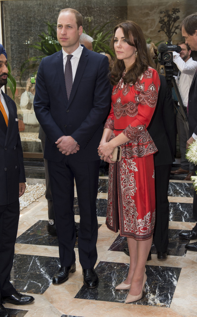 The Duke and Duchess of Cambridge lay a wreath at the Taj Palace hotel on the first day of their tour of India. Picture by POOL / i-Images