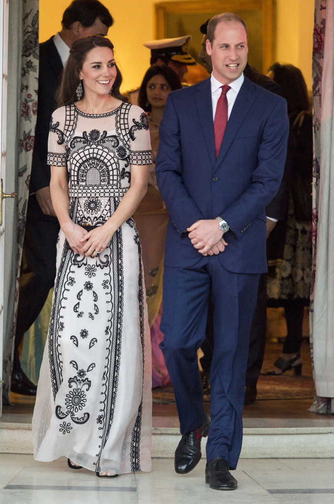 The Duke and Duchess of Cambridge at a birthday party for The Queen's 90th birthday at the British High Commission in New Delhi on the second day of their tour of India and Bhutan. Picture POOL / i-Images.