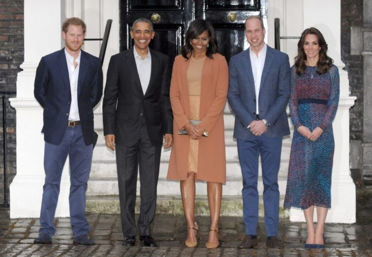The Duke and Duchess of Cambridge and Prince Harry greet the Obamas for dinner at Kensington Palace. I-Images