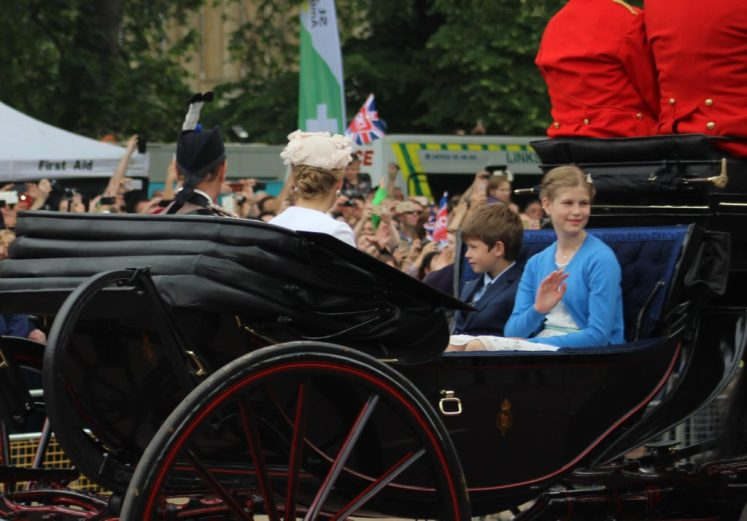 Lady Louise and James Viscount Severn travelled with their parents, Prince Edward and Sophie. (Victoria Howard)