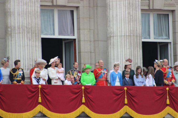 The Queen is joined by her family on the Palace balcony, including Princess Charlotte and Prince George. (Victoria Howard)