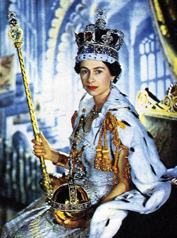 The Queens coronation portrait shows her holding the orb and sceptre RV1864)