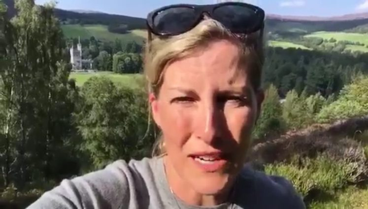 The Countess of Wessex sends good luck to the women's hockey team in a video from Balmoral (Royal Famaily twitter)