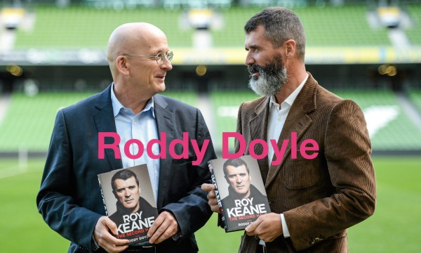 09 Oct 2014 --- 9 October 2014; Republic of Ireland assistant manager Roy Keane, with author Roddy Doyle, left, in attendance at the launch of his autobiography 'The Second Half'. Aviva Stadium, Lansdowne Road, Dublin. Picture credit: Paul Mohan / SPORTSFILE --- Image by © Paul Mohan / SPORTSFILE/SPORTSFILE/Corbis