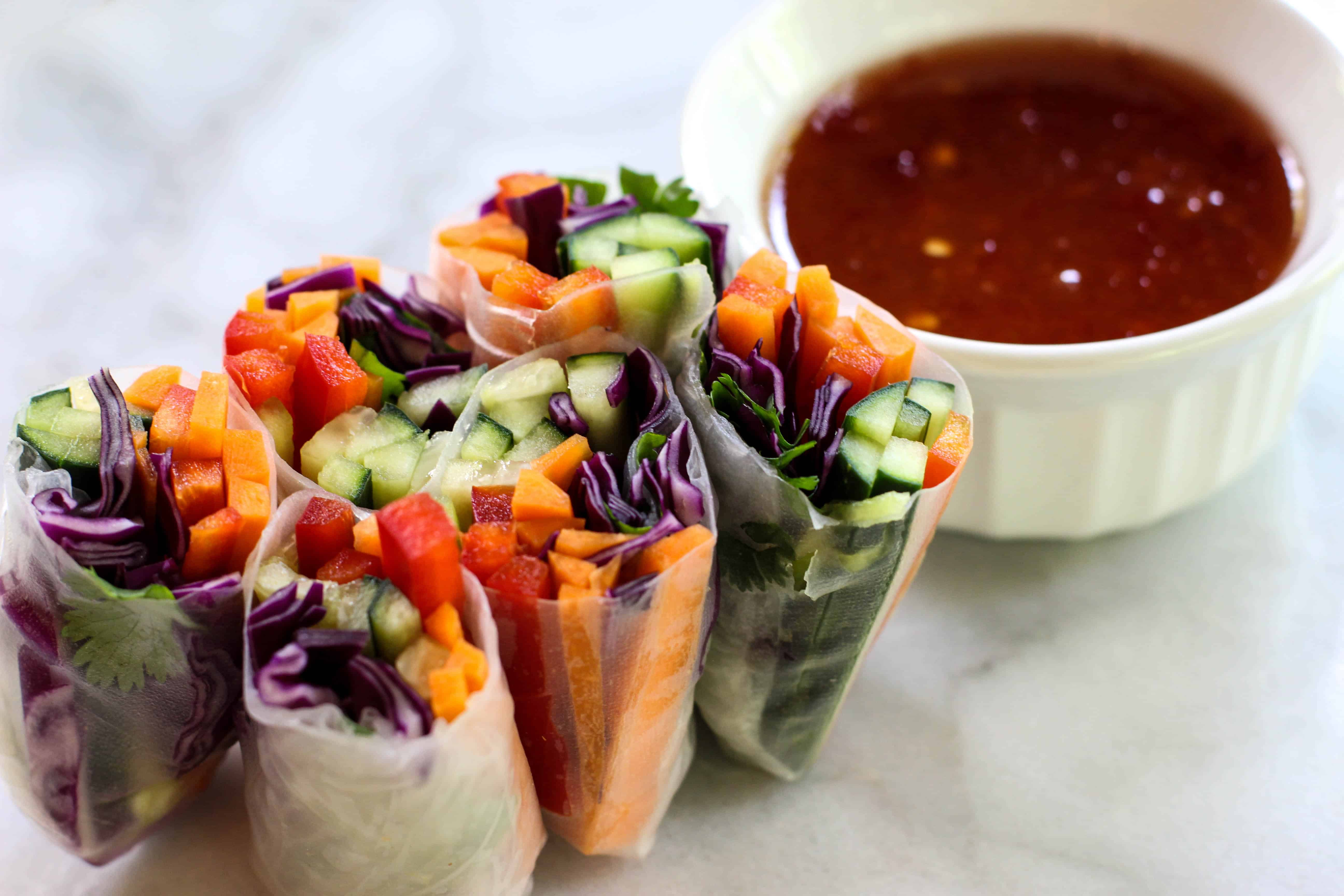 Veggie spring rolls with sweet chili sauce the culinary compass veggie rolls the culinary compass forumfinder Images