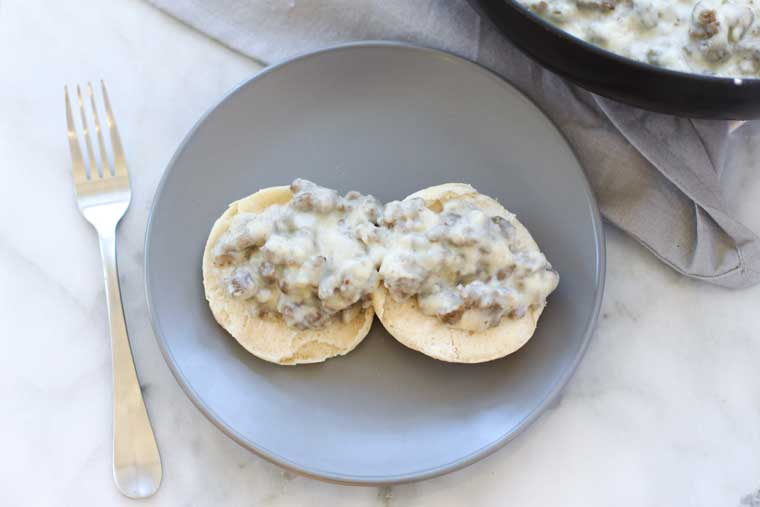 This Turkey Sausage Gravy is so easy to make and perfect for brunch!