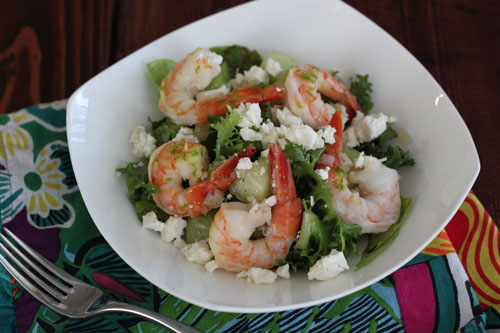 shrimp feta honeydew salad