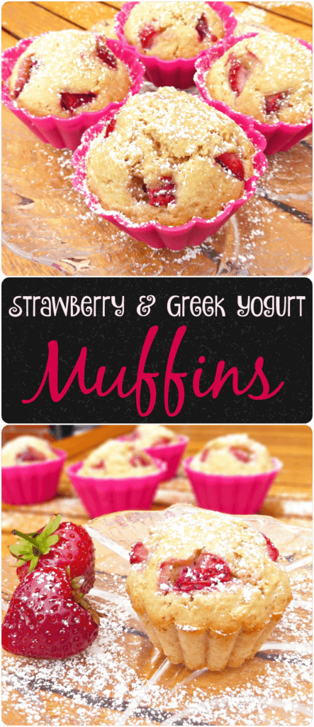 Healthier Wholemeal Strawberry and Greek Yoghurt Muffins