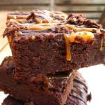 Rich Dark Chocolate Brownies with a Chocolate and Caramel Drizzle
