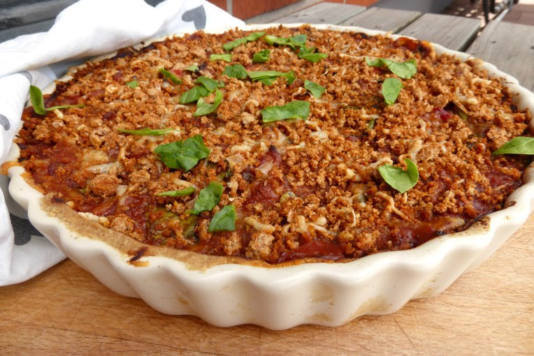 Fajita Spinach Pie with a Spicy Crumble