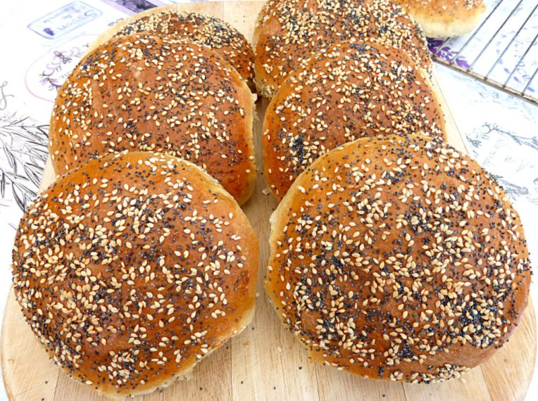 Soft Burger Bun Brioches with Sesame and Poppy Seeds