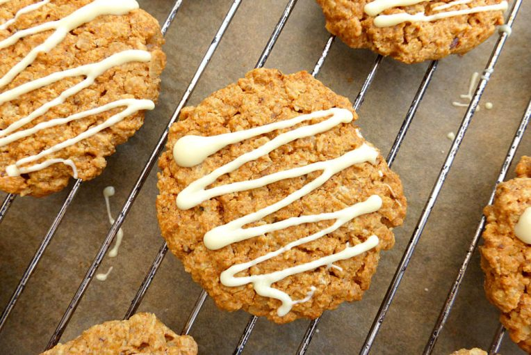 Gluten Free Oat Cookies with a White Chocolate Drizzle