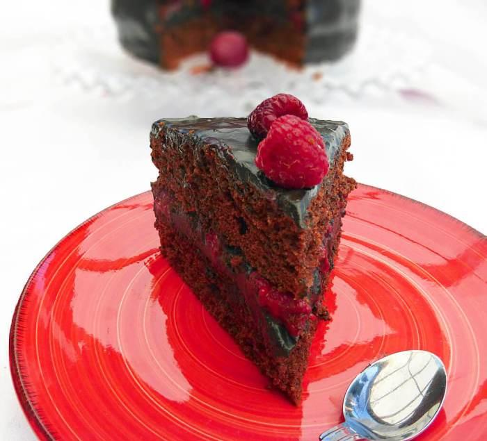 Rich Chocolate and Fresh Raspberry Layer Cake