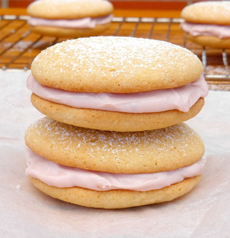Vanilla Cookies with a Raspberry Meringue Cream Cheese Filling
