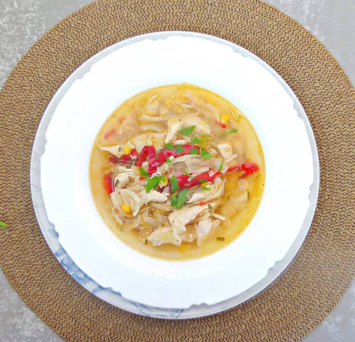Chicken, Sweetcorn and Cabbage Crockpot Soup (Low Fat, Clean and GF)