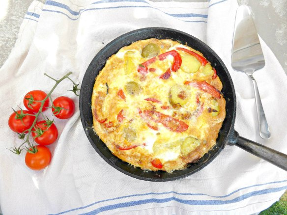 Spanish Style Omelette with Potatoes and Red Pepper
