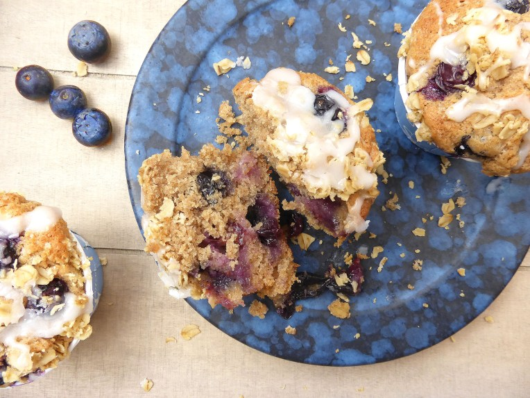 Gluten Free Brown Sugar Blueberry Muffins with a Greek Yoghurt Drizzle