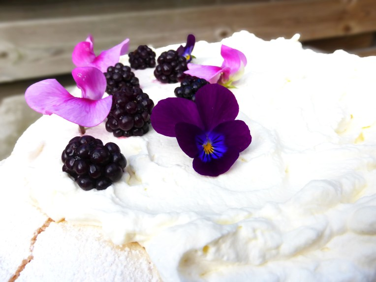 Homemade Blackberry Curd Pavlova (from scratch)