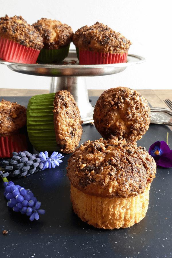 Gluten Free Vanilla Muffins with a Dark Chocolate and Hazelnut Topping