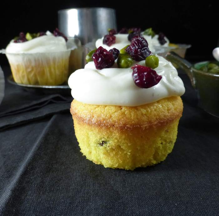 Saffron & Cranberry Cupcakes with Vanilla Cream Cheese Frosting (gluten free)