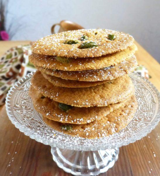 Saffron Pistachio Snap Cookies