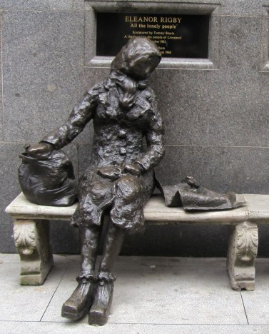 Eleanor Rigby statue, Liverpool, by Tommy Steele, 1982.