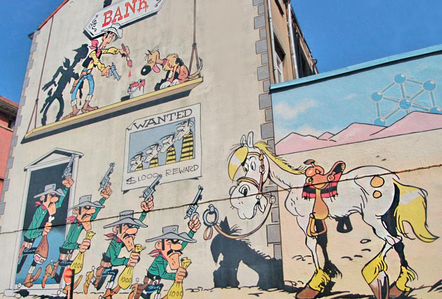 Lucky Luke comic wall murals / street art in Brussels