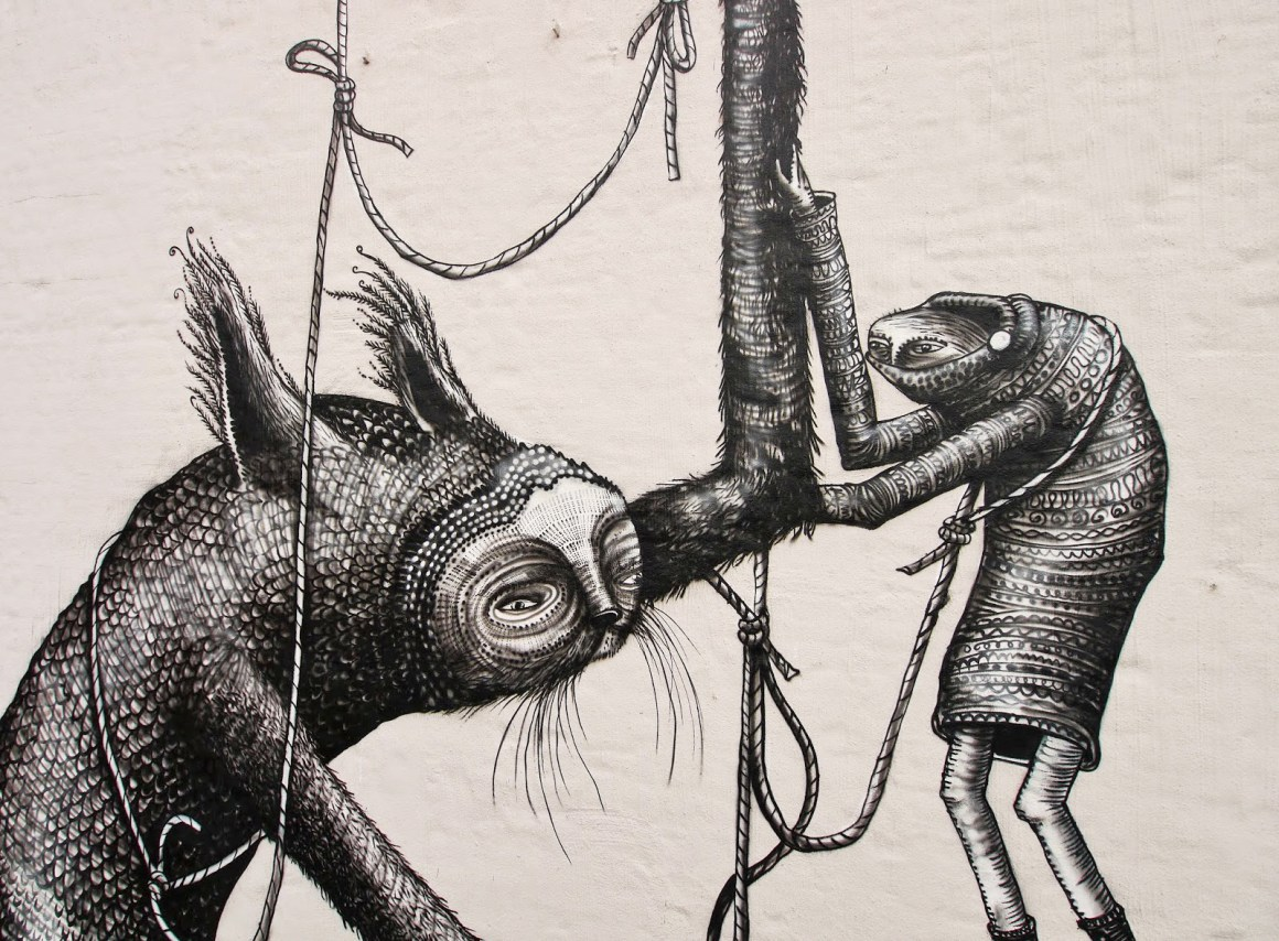 Street Art in Malmo, Sweden - wall mural by Phlegm