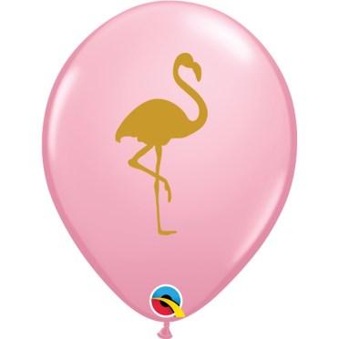 golden flamingo pink latex balloon